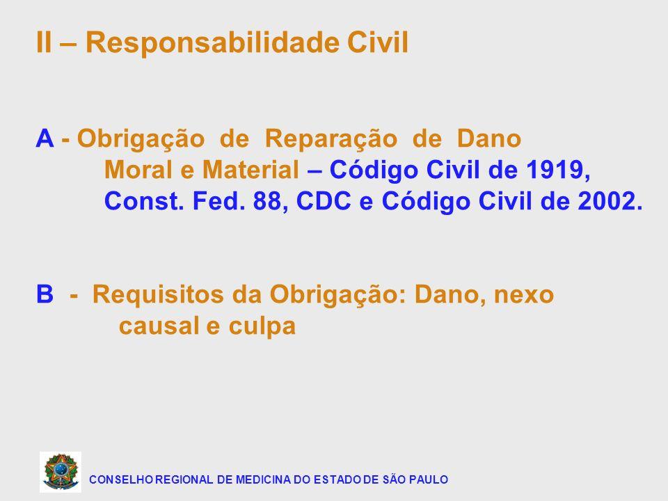 CONSELHO REGIONAL DE MEDICINA DO ESTADO DE SÃO PAULO II – Responsabilidade Civil A - Obrigação de Reparação de Dano Moral e Material – Código Civil de