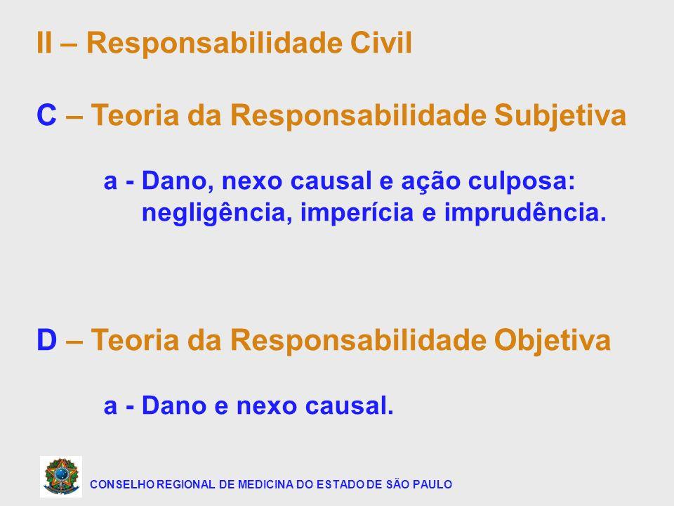 CONSELHO REGIONAL DE MEDICINA DO ESTADO DE SÃO PAULO II – Responsabilidade Civil C – Teoria da Responsabilidade Subjetiva a - Dano, nexo causal e ação