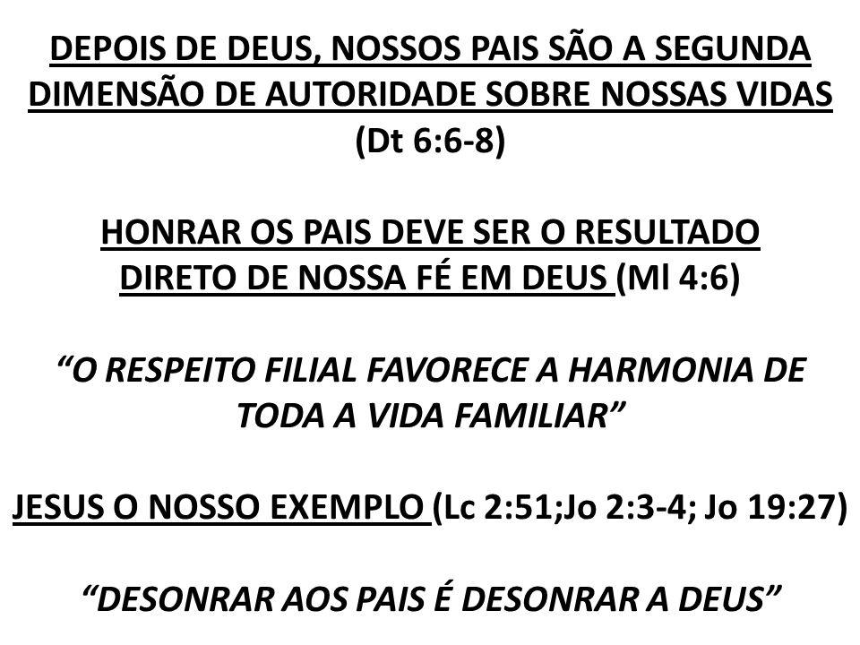 DEPOIS DE DEUS, NOSSOS PAIS SÃO A SEGUNDA DIMENSÃO DE AUTORIDADE SOBRE NOSSAS VIDAS (Dt 6:6-8) HONRAR OS PAIS DEVE SER O RESULTADO DIRETO DE NOSSA FÉ