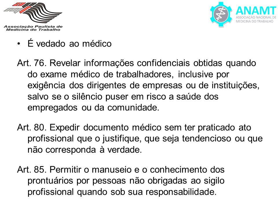 É vedado ao médico Art. 76. Revelar informações confidenciais obtidas quando do exame médico de trabalhadores, inclusive por exigência dos dirigentes