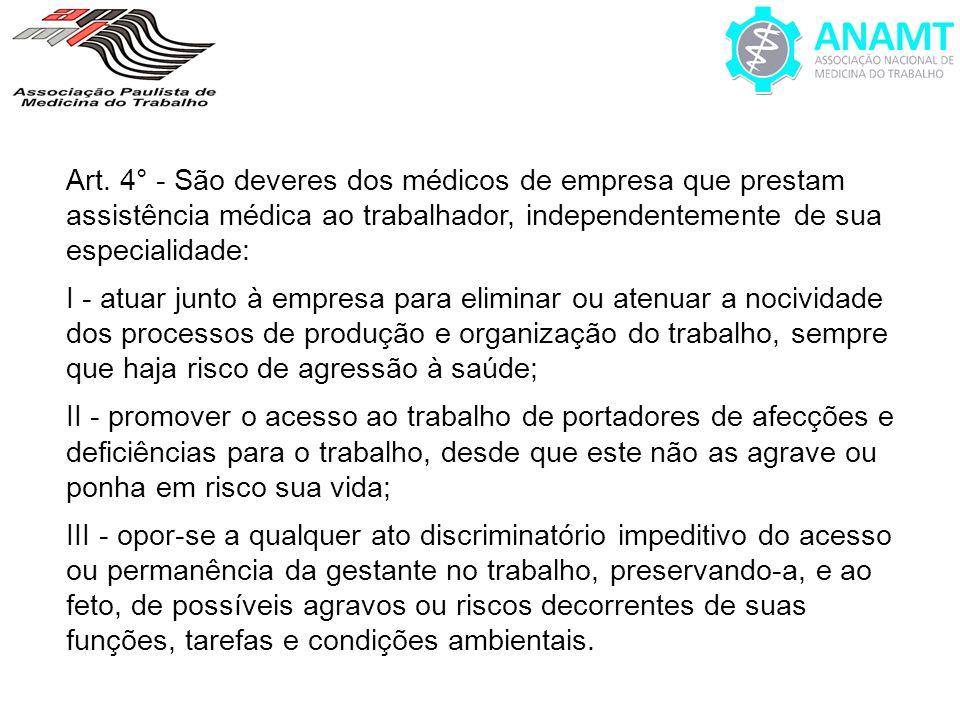 Art. 4° - São deveres dos médicos de empresa que prestam assistência médica ao trabalhador, independentemente de sua especialidade: I - atuar junto à