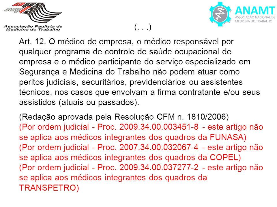(...) Art. 12. O médico de empresa, o médico responsável por qualquer programa de controle de saúde ocupacional de empresa e o médico participante do