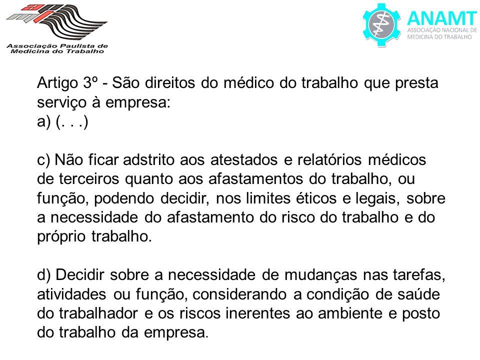 Artigo 3º - São direitos do médico do trabalho que presta serviço à empresa: a) (...) c) Não ficar adstrito aos atestados e relatórios médicos de terc