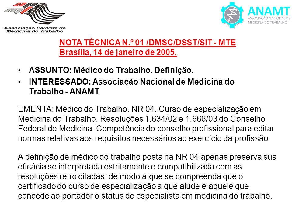 NOTA TÉCNICA N.º 01 /DMSC/DSST/SIT - MTE Brasília, 14 de janeiro de 2005. ASSUNTO: Médico do Trabalho. Definição. INTERESSADO: Associação Nacional de