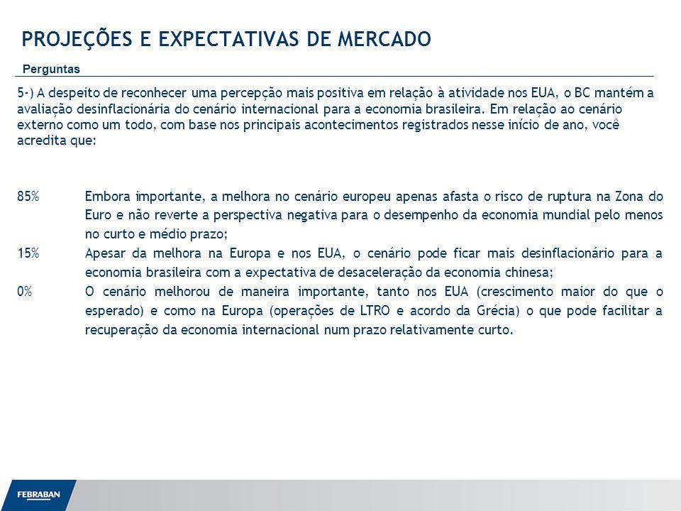 Apresentação ao Senado PROJEÇÕES E EXPECTATIVAS DE MERCADO Perguntas 5-) A despeito de reconhecer uma percepção mais positiva em relação à atividade n