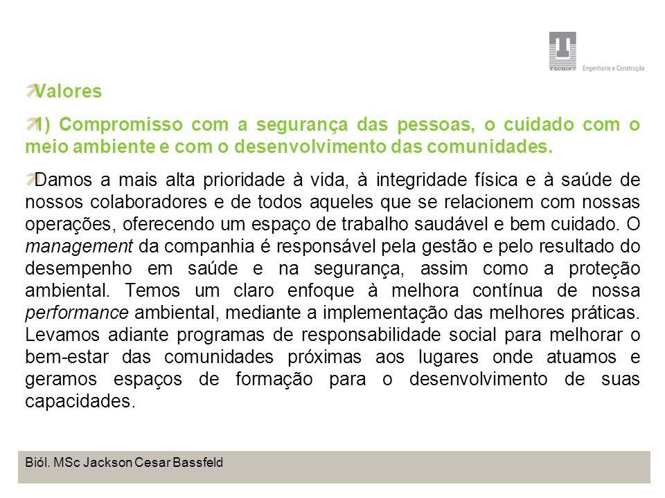 Projeto Base OffShore de Pontal do Paraná Coordenação de Meio Ambiente TEBRA I WORKSHOP PLANOS DE TRABALHO Biól. MSc Jackson Cesar Bassfeld Valores 1)