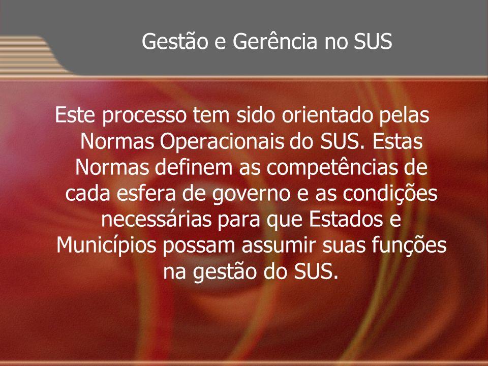 Gestão e Gerência no SUS Este processo tem sido orientado pelas Normas Operacionais do SUS. Estas Normas definem as competências de cada esfera de gov