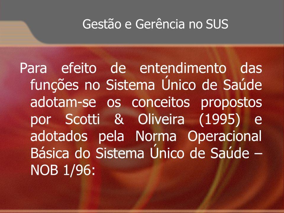 Gestão e Gerência no SUS Para efeito de entendimento das funções no Sistema Único de Saúde adotam-se os conceitos propostos por Scotti & Oliveira (199
