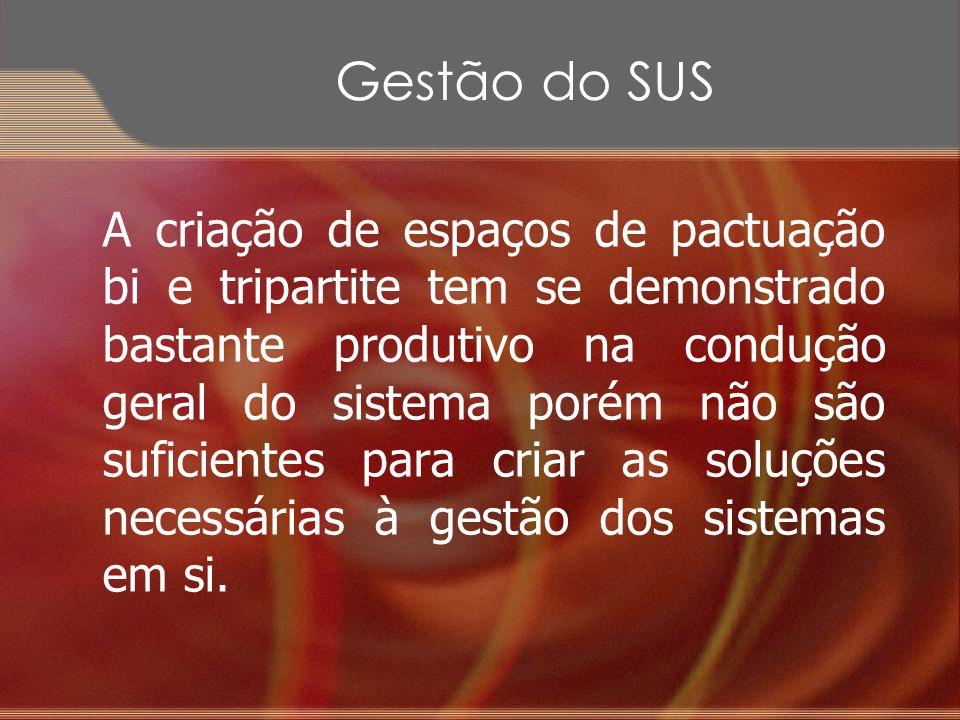 Gestão do SUS A criação de espaços de pactuação bi e tripartite tem se demonstrado bastante produtivo na condução geral do sistema porém não são sufic