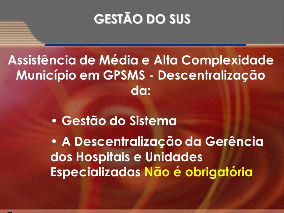 Assistência de Média e Alta Complexidade Município em GPSMS - Descentralização da: Gestão do Sistema A Descentralização da Gerência dos Hospitais e Un