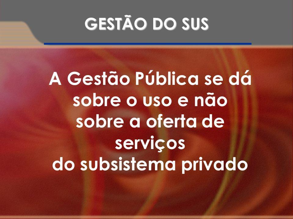 A Gestão Pública se dá sobre o uso e não sobre a oferta de serviços do subsistema privado GESTÃO DO SUS