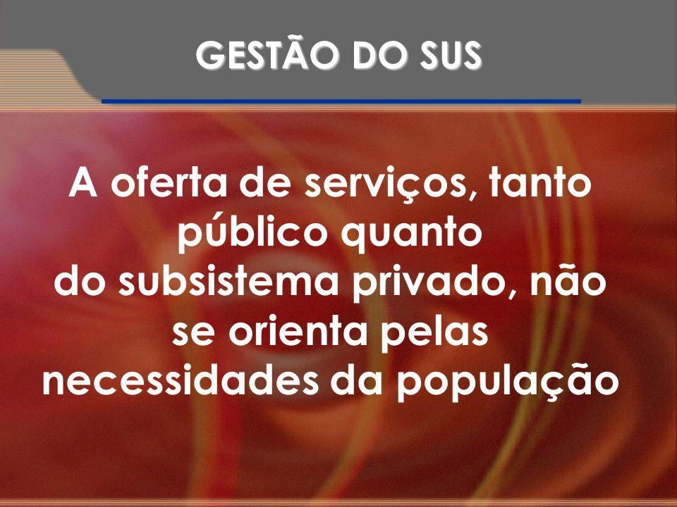 A oferta de serviços, tanto público quanto do subsistema privado, não se orienta pelas necessidades da população GESTÃO DO SUS