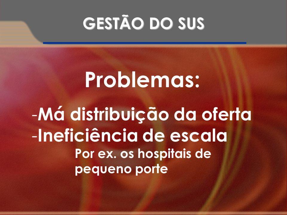 Problemas: - Má distribuição da oferta - Ineficiência de escala Por ex. os hospitais de pequeno porte GESTÃO DO SUS