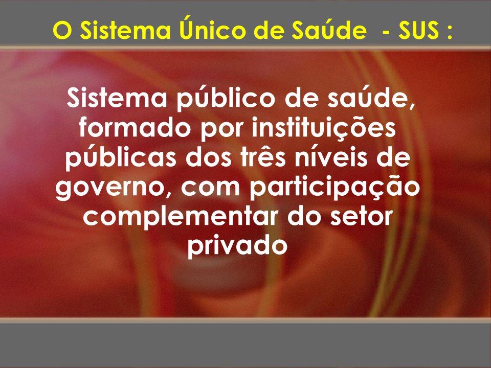Sistema público de saúde, formado por instituições públicas dos três níveis de governo, com participação complementar do setor privado O Sistema Único