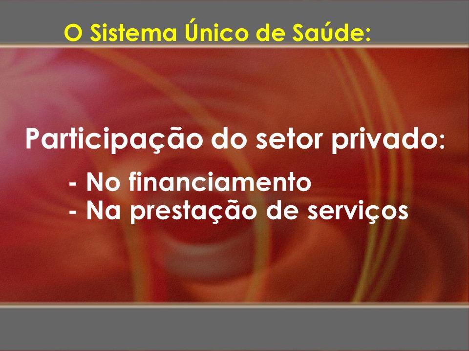 Participação do setor privado : - No financiamento - Na prestação de serviços O Sistema Único de Saúde: