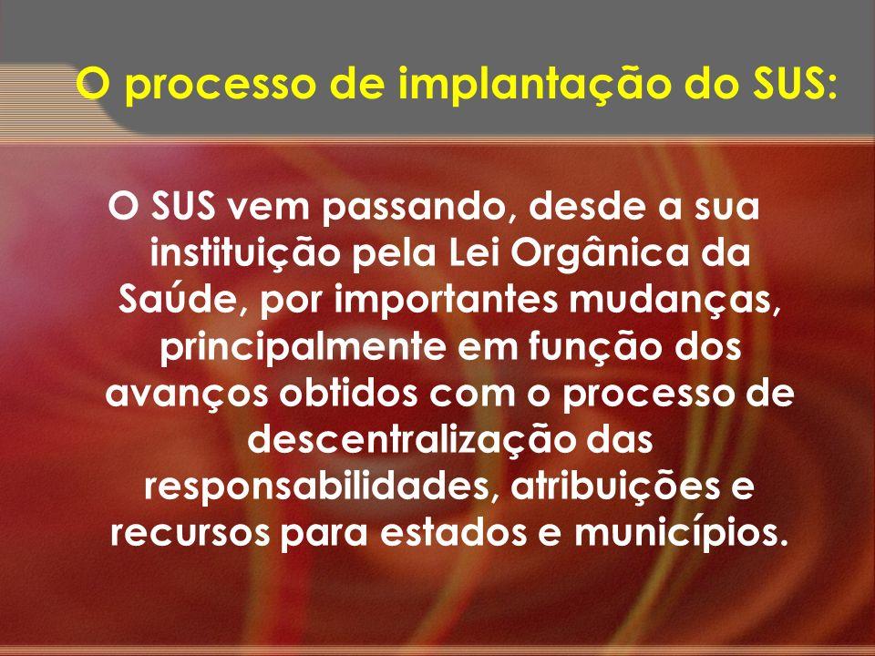 O SUS vem passando, desde a sua instituição pela Lei Orgânica da Saúde, por importantes mudanças, principalmente em função dos avanços obtidos com o p