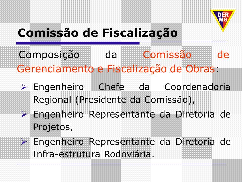 Comissão de Fiscalização Composição da Comissão de Gerenciamento e Fiscalização de Obras: Engenheiro Chefe da Coordenadoria Regional (Presidente da Co