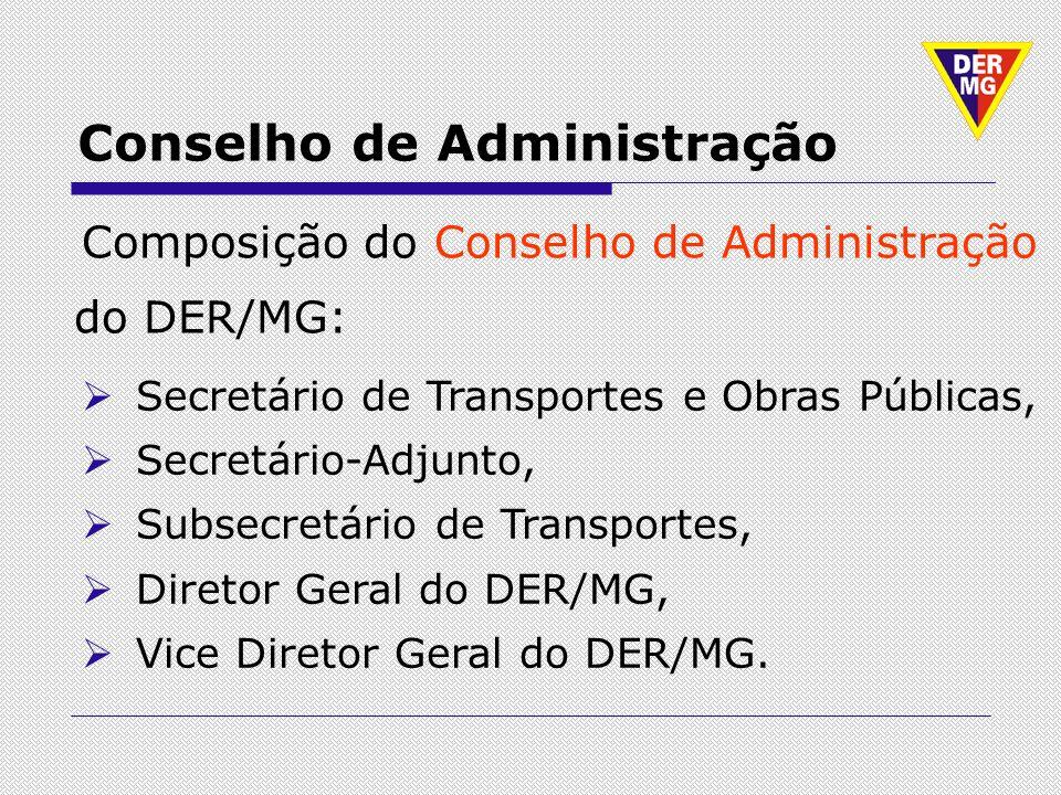 Conselho de Administração Composição do Conselho de Administração do DER/MG: Secretário de Transportes e Obras Públicas, Secretário-Adjunto, Subsecret
