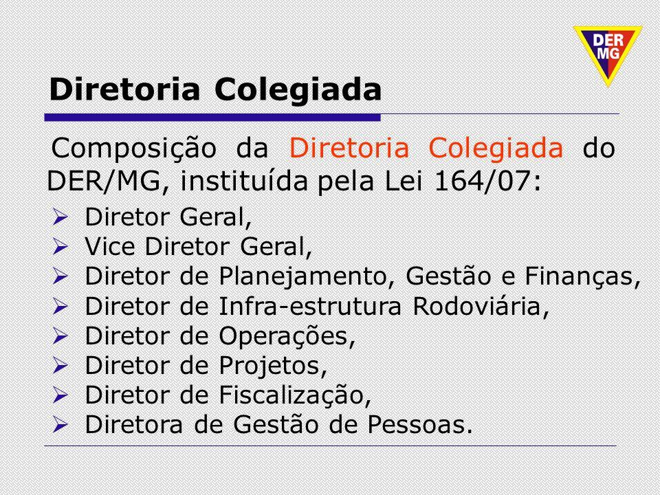 Diretoria Colegiada Composição da Diretoria Colegiada do DER/MG, instituída pela Lei 164/07: Diretor Geral, Vice Diretor Geral, Diretor de Planejament