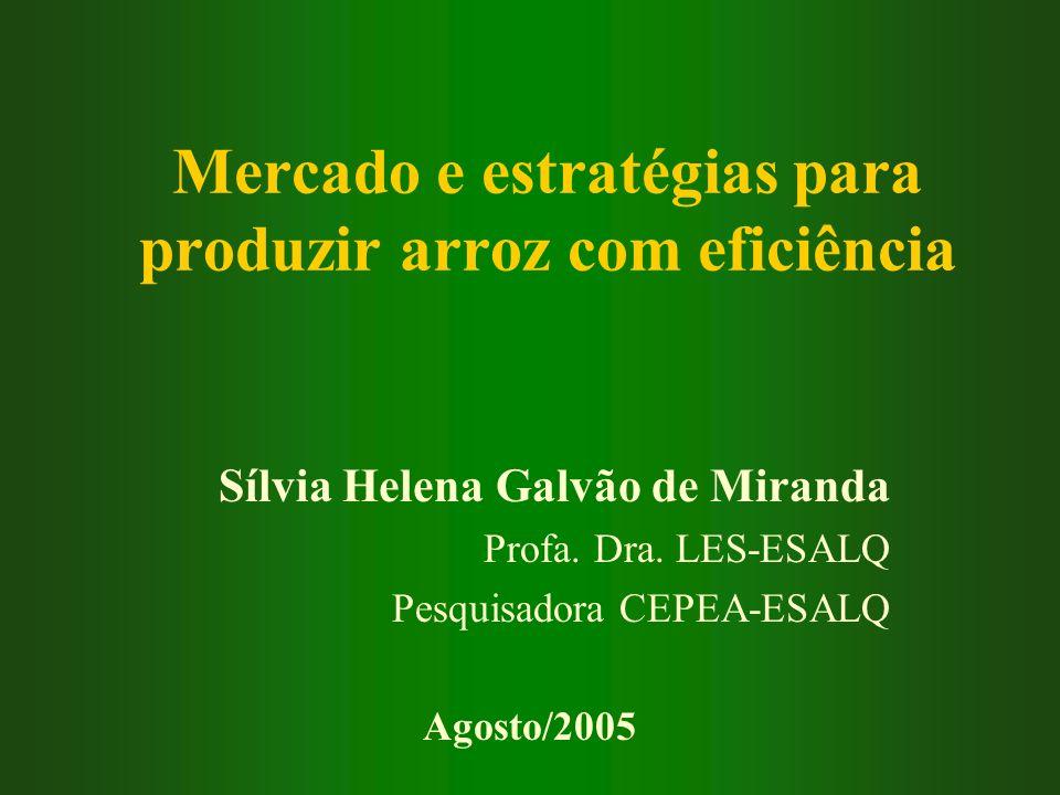 Mercado e estratégias para produzir arroz com eficiência Sílvia Helena Galvão de Miranda Profa. Dra. LES-ESALQ Pesquisadora CEPEA-ESALQ Agosto/2005