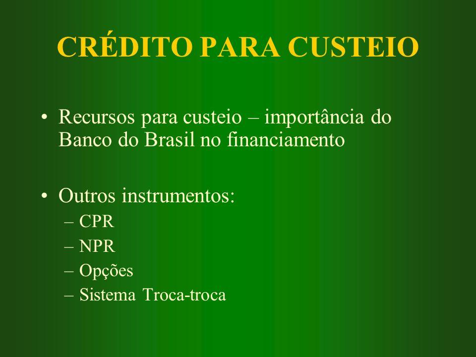 CRÉDITO PARA CUSTEIO Recursos para custeio – importância do Banco do Brasil no financiamento Outros instrumentos: –CPR –NPR –Opções –Sistema Troca-tro