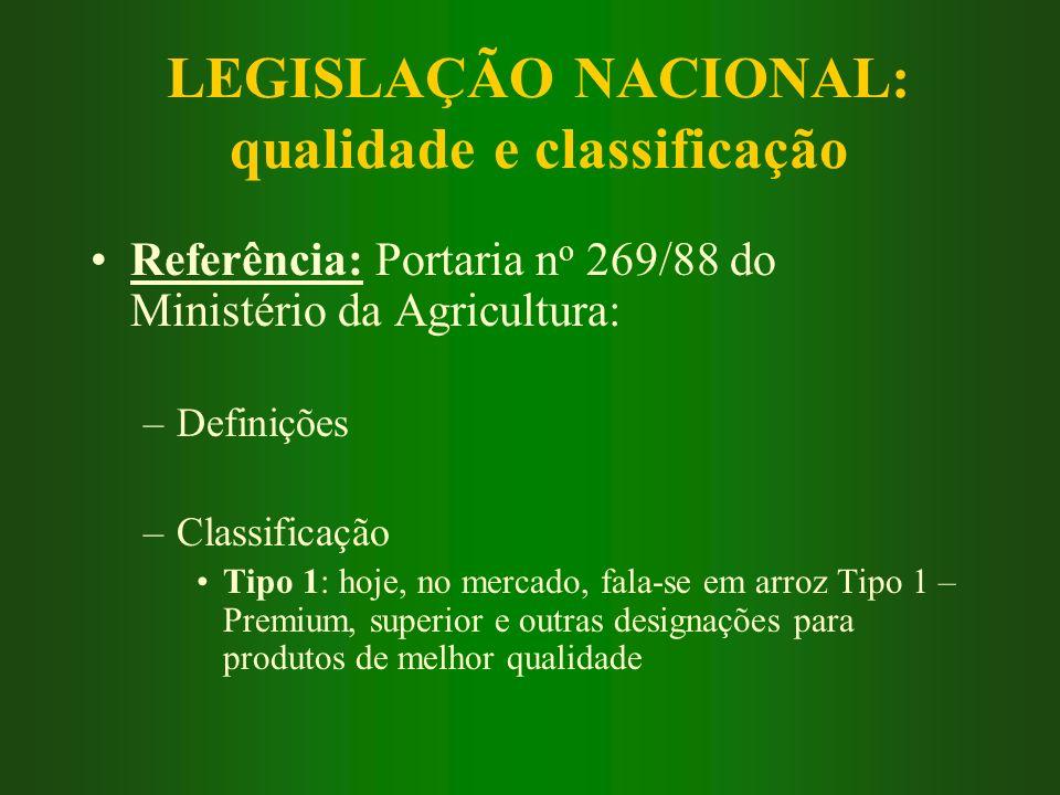 LEGISLAÇÃO NACIONAL: qualidade e classificação Referência: Portaria n o 269/88 do Ministério da Agricultura: –Definições –Classificação Tipo 1: hoje,