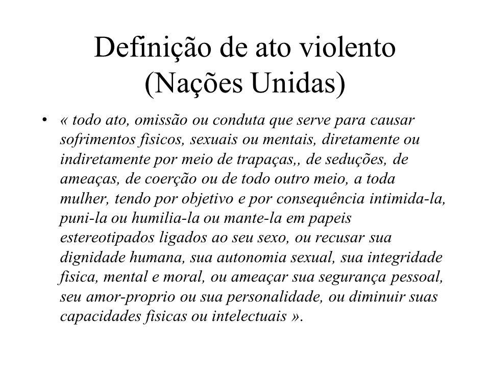 Definição de ato violento (Nações Unidas) « todo ato, omissão ou conduta que serve para causar sofrimentos fisicos, sexuais ou mentais, diretamente ou