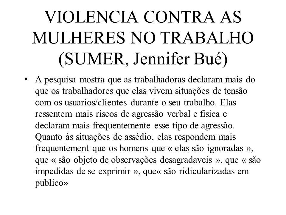 VIOLENCIA CONTRA AS MULHERES NO TRABALHO (SUMER, Jennifer Bué) A pesquisa mostra que as trabalhadoras declaram mais do que os trabalhadores que elas v