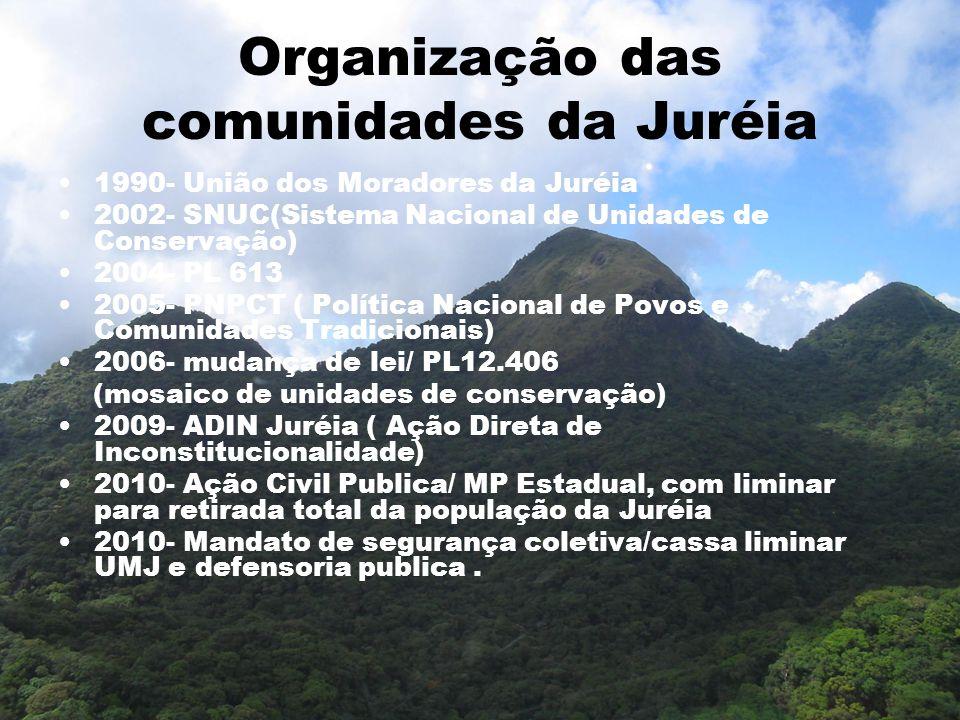 Organização das comunidades da Juréia 1990- União dos Moradores da Juréia 2002- SNUC(Sistema Nacional de Unidades de Conservação) 2004- PL 613 2005- P