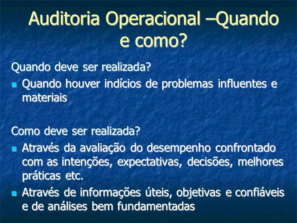 Auditoria Operacional –Quando e como? Quando deve ser realizada? Quando houver indícios de problemas influentes e materiais Quando houver indícios de