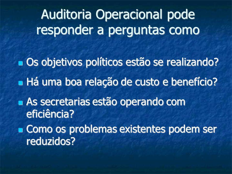 Auditoria Operacional pode responder a perguntas como Os objetivos políticos estão se realizando? Os objetivos políticos estão se realizando? Há uma b