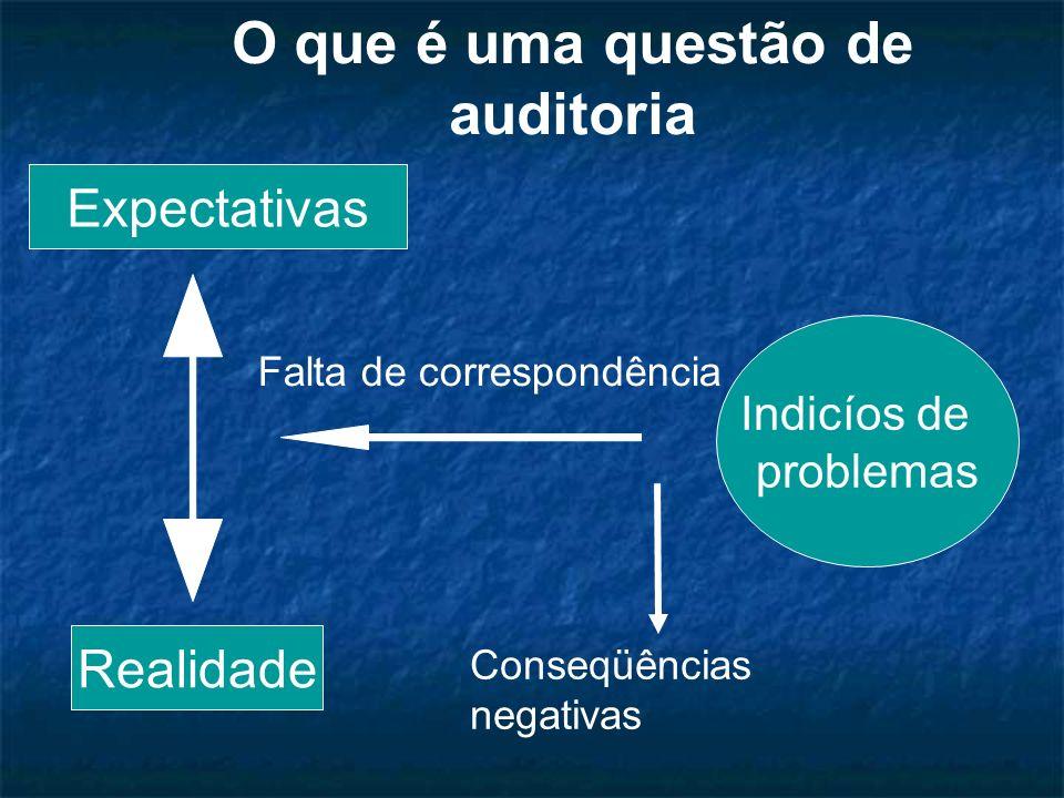 Falta de correspondência Indicíos de problemas Expectativas Realidade O que é uma questão de auditoria Conseqüências negativas