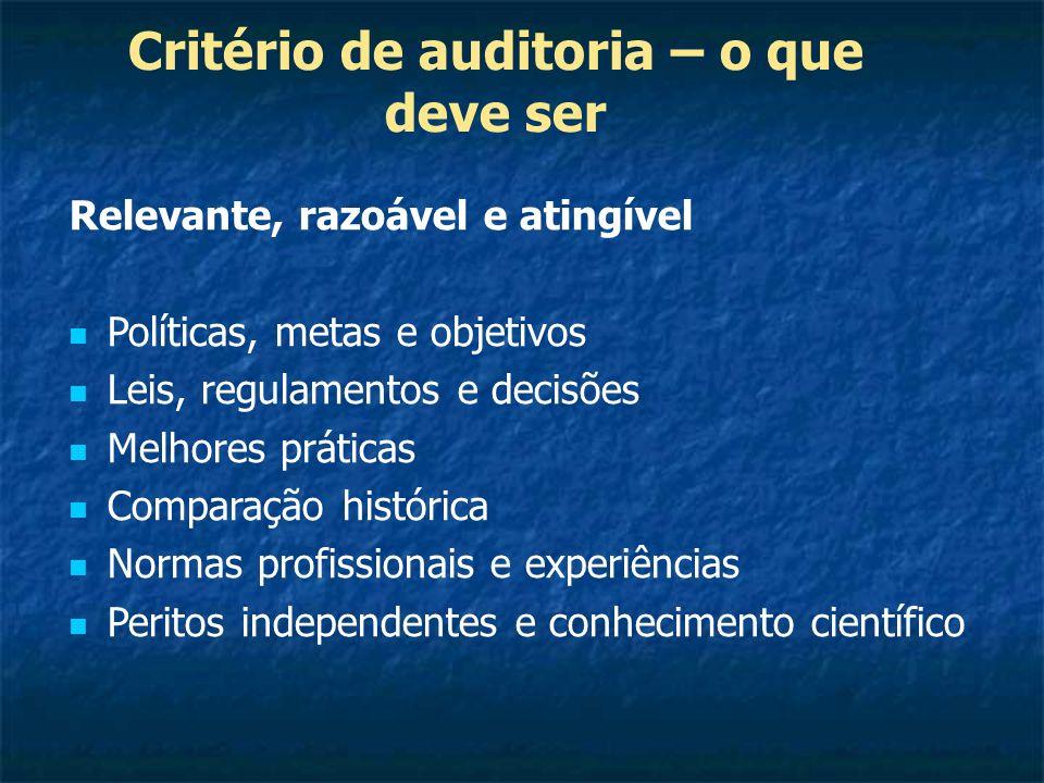 Critério de auditoria – o que deve ser Relevante, razoável e atingível Políticas, metas e objetivos Leis, regulamentos e decisões Melhores práticas Co