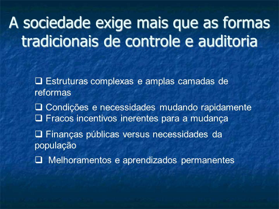 A sociedade exige mais que as formas tradicionais de controle e auditoria Estruturas complexas e amplas camadas de reformas Condições e necessidades m