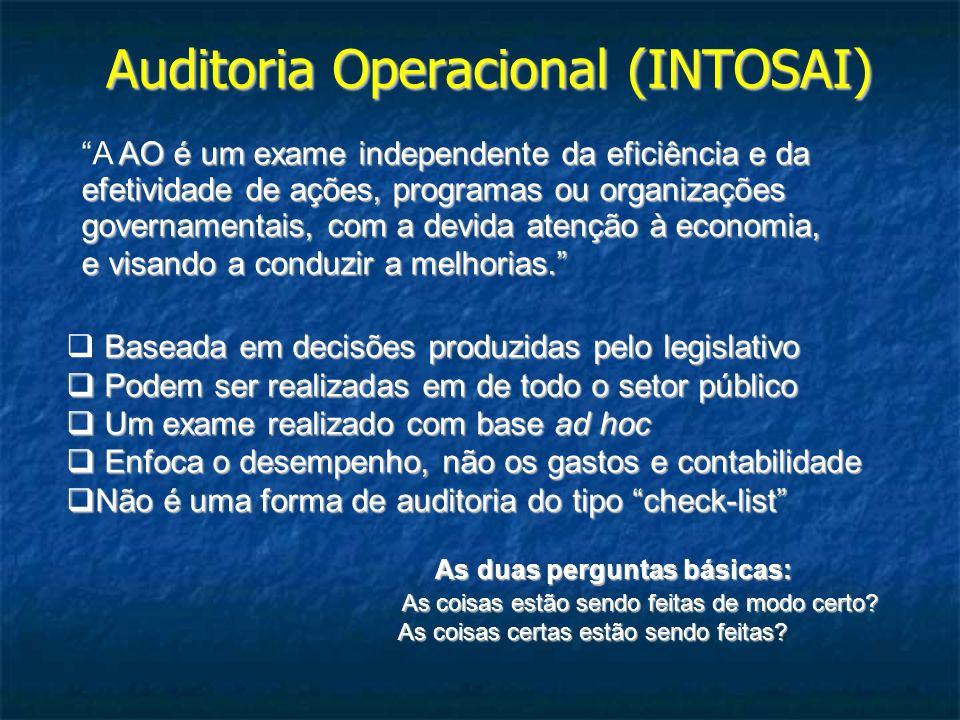 Auditoria Operacional (INTOSAI) AO é um exame independente da eficiência e da efetividade de ações, programas ou organizações governamentais, com a de