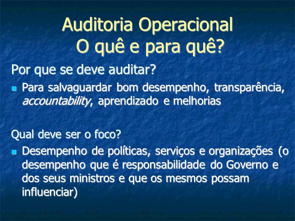 Auditoria Operacional O quê e para quê? Por que se deve auditar? Para salvaguardar bom desempenho, transparência, accountability, aprendizado e melhor