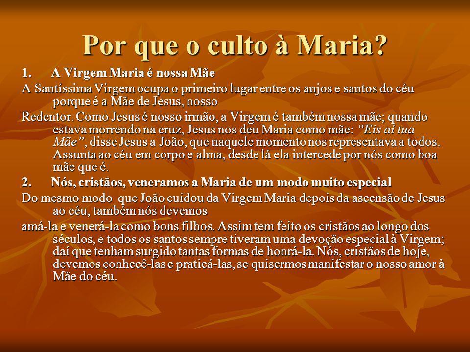 Por que o culto à Maria? 1. A Virgem Maria é nossa Mãe A Santíssima Virgem ocupa o primeiro lugar entre os anjos e santos do céu porque é a Mãe de Jes
