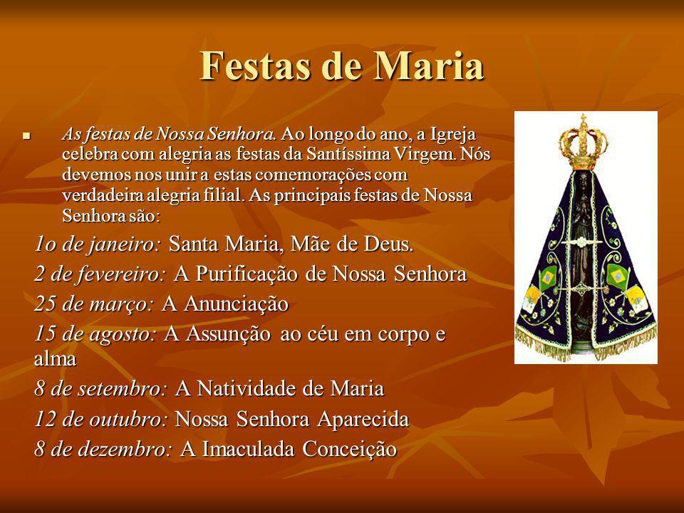 Festas de Maria As festas de Nossa Senhora. Ao longo do ano, a Igreja celebra com alegria as festas da Santíssima Virgem. Nós devemos nos unir a estas