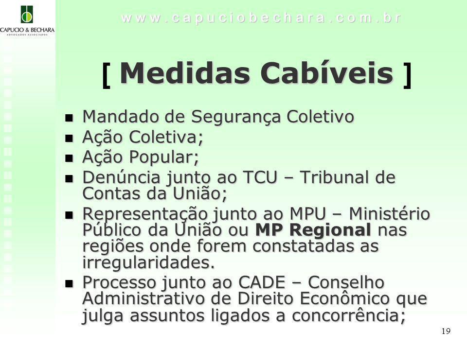 19 Medidas Cabíveis [ Medidas Cabíveis ] w w w.c a p u c i o b e c h a r a.