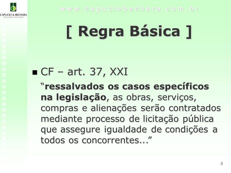 3 w w w.c a p u c i o b e c h a r a. c o m. b r [ Regra Básica ] CF – art.