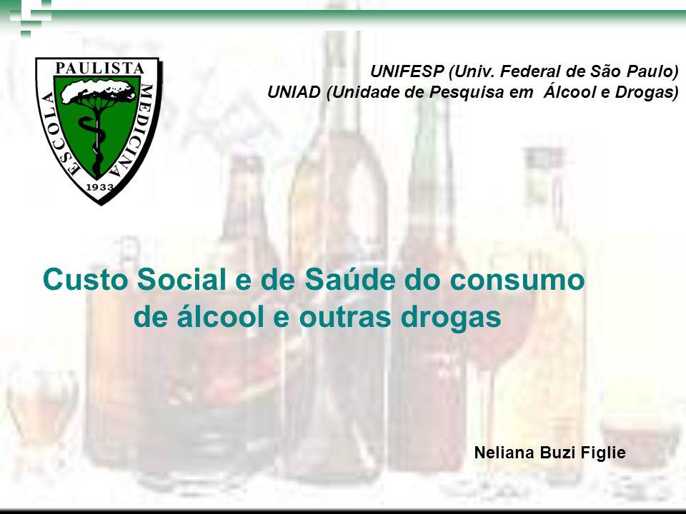 Custo Social e de Saúde do consumo de álcool e outras drogas UNIFESP (Univ. Federal de São Paulo) UNIAD (Unidade de Pesquisa em Álcool e Drogas) Nelia