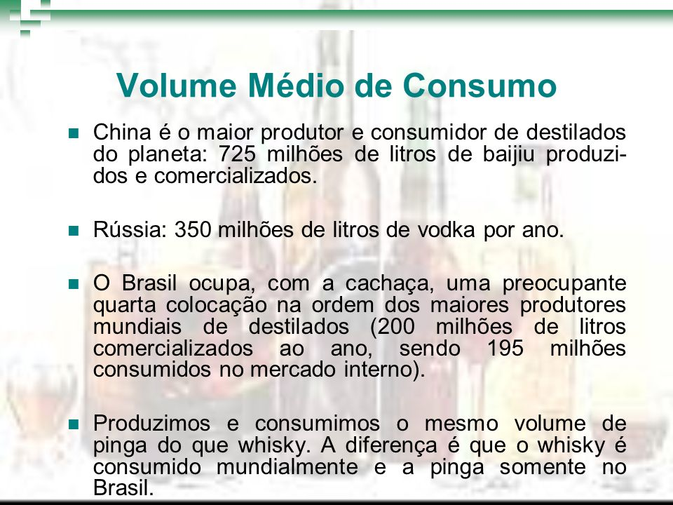 Volume Médio de Consumo China é o maior produtor e consumidor de destilados do planeta: 725 milhões de litros de baijiu produzi- dos e comercializados