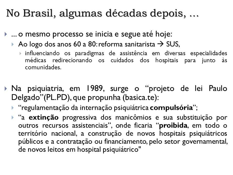 No Brasil, algumas décadas depois,...... o mesmo processo se inicia e segue até hoje: Ao logo dos anos 60 a 80: reforma sanitarista SUS, influenciando