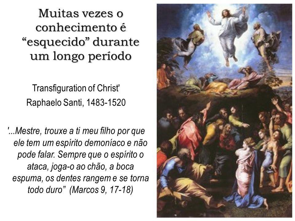 Muitas vezes o conhecimento é esquecido durante um longo período Transfiguration of Christ' Raphaelo Santi, 1483-1520 '...Mestre, trouxe a ti meu filh