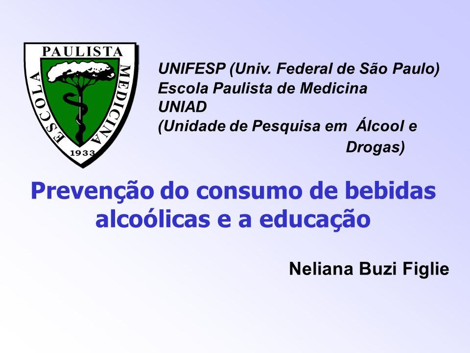 UNIFESP (Univ. Federal de São Paulo) Escola Paulista de Medicina UNIAD (Unidade de Pesquisa em Álcool e Drogas) Prevenção do consumo de bebidas alcoól