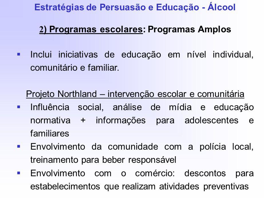 Estratégias de Persuasão e Educação - Álcool 2 ) Programas escolares: Programas Amplos Inclui iniciativas de educação em nível individual, comunitário