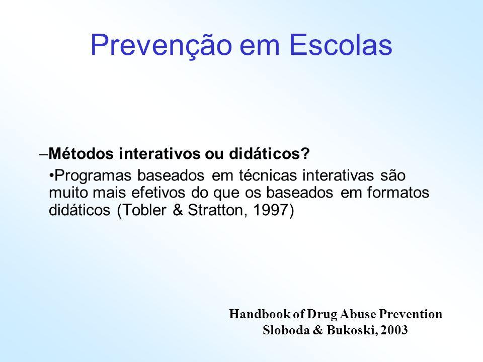 Prevenção em Escolas –Métodos interativos ou didáticos? Programas baseados em técnicas interativas são muito mais efetivos do que os baseados em forma
