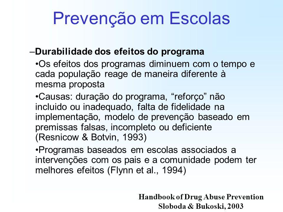 Prevenção em Escolas –Durabilidade dos efeitos do programa Os efeitos dos programas diminuem com o tempo e cada população reage de maneira diferente à