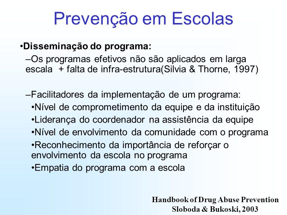 Prevenção em Escolas Disseminação do programa: –Os programas efetivos não são aplicados em larga escala + falta de infra-estrutura(Silvia & Thorne, 19