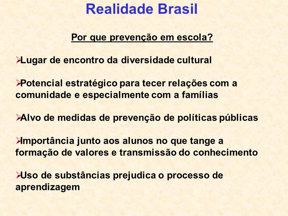 Realidade Brasil Por que prevenção em escola? Lugar de encontro da diversidade cultural Potencial estratégico para tecer relações com a comunidade e e